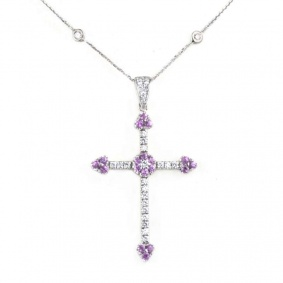 White Gold Diamond and Pink Sapphire Cross Pendant